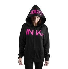 Ink Women's Black/Pink Zip Hoodie