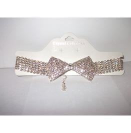 Playboy Bunny Style Austrian Crystal Rhinestone Bow Tie Choker J 102