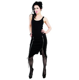 Hell Bunny: Steampunk Gothic Victorian Alternative Pixie Skirt Corset Lacing Adjustable Zip Slits. Sizes Xs Xl