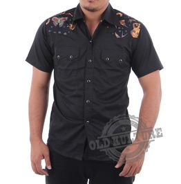 Rockabilly Western Cowboy Snap Button Short Sleeve Shirt Psychobilly Rock N Roll