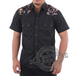 Rockabilly Western Cowboy Skull Snap Button Short Sleeve Shirt Rock N Roll Psychobilly