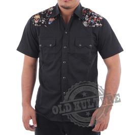 Rockabilly Western Cowboy Skull Snap Button Short Sleeve Shirt Rock N Roll Psychobilly
