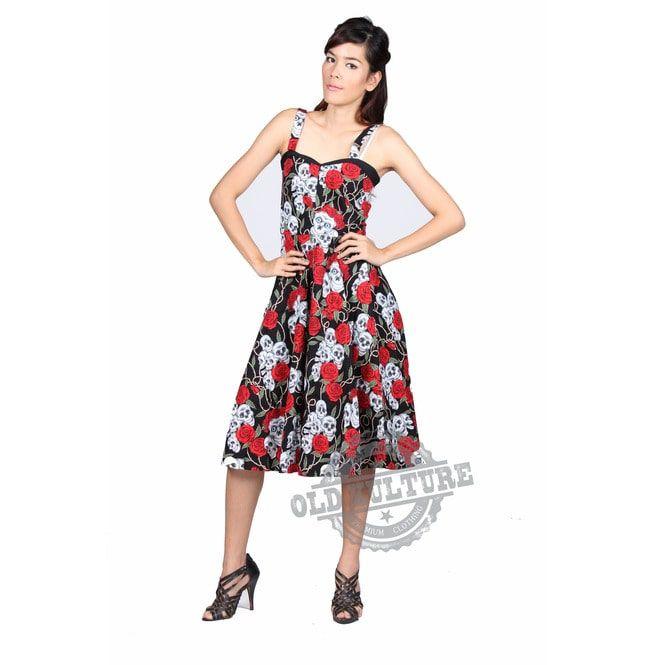 b89f8f6281e4 Rockabilly Women Dress Skull Roses Retro Vintage Pin