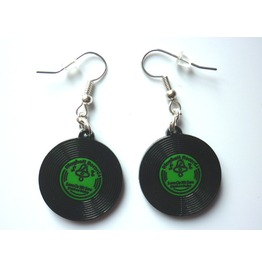 Green Vinyls Earrings Lp Disc Rockabilly Punk Gothic Music Festival Rock