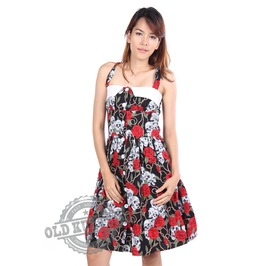 Rockabilly Women Dress Skull Roses Retro Vintage Pin Cocktail Prom Party Unique Design D23