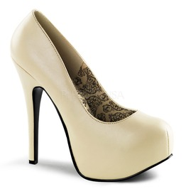 Burlesque Pumps Bordello Teeze 06 Matte Cream Pleaser