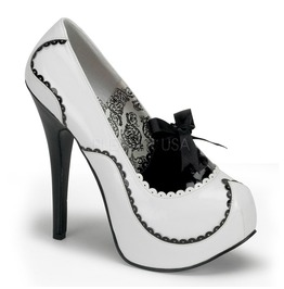Burlesque Pumps Bordello Teeze 01 White Pleaser
