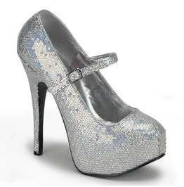 Burlesque Pumps Bordello Teeze 07 H Silver Pleaser