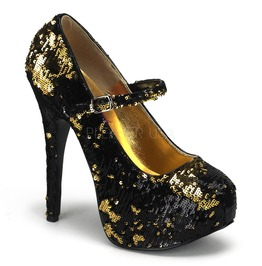 Burlesque Pumps Bordello Teeze 07 Sq Black Pleaser