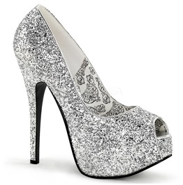 Burlesque Pumps Bordello Teeze 22 G Silver Pleaser