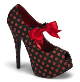 Burlesque Pumps Bordello Teeze 25 Red Polka Dot Pleaser