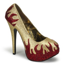 Burlesque Pumps Bordello Teeze 27 Gold Pleaser