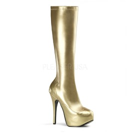 Burlesque Knee Boots Bordello Teeze 2000 Gold Pleaser