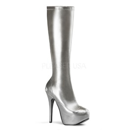 Burlesque Knee Boots Bordello Teeze 2000 Silver Pleaser