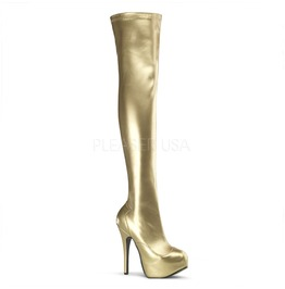 Burlesque Thigh Boots Bordello Teeze 3000 Gold Pleaser