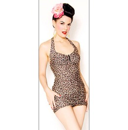 Rockabilly Pin Leopard 50s Swimsuit Vintage Retro Women Girl Ladies Swimwear Bikini Blue Sexy Bikini