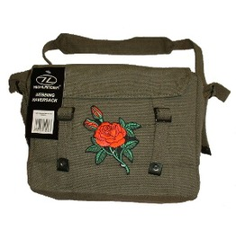 Messenger Bag (Green) Rose Embroidered Patch