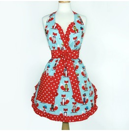 Blue Red Fox Polka Dots Apron / Red Retro Foxes Bow Ties