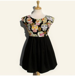 Day Dead Mexican Sugar Skulls Mini Dress / Day Dead Dress