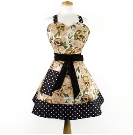 Cream Skulls Roses Black Polka Dots Apron / Retro Inspired 2 Tier Apron