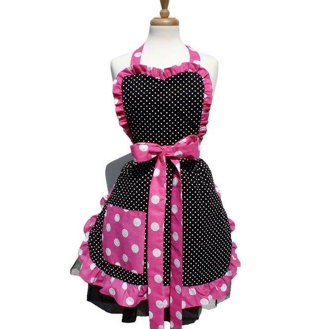 Pink and White Polka dot Vintage Apron