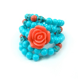 Colorful Day Dead Rose Wrap Around Memory Skull Turquoise Bracelet, Jewelry