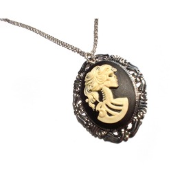 Gothic Victorian Bride Cameo Necklace Includes Pendant, Chain Giftbox