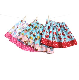 Girls Pleated Aline Skirts / Foxes/ Cupcakes /And Polka Dots Pleated Elastic Skirts