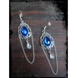 Ornament Cabochon Earrings Chain Rhinestone