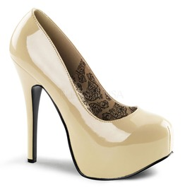 Burlesque Pumps Bordello Teeze 06 Glossy Cream Pleaser