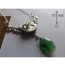 Rococo Inspired Steampunk Necklace Peridot Steampunk Jewelry Swarovski Crystal Necklace Steampunk Jewellery Steamretro