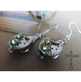 Steampunk Silver Peridot Earrings Steamretro Steampunk Jewelry Steamretro Steampunk Jewellery