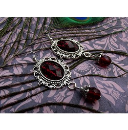 Gothic Victorian Silver Filigree Red Drop Bead Earrings