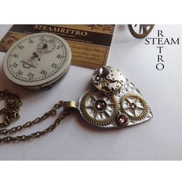 Steampunk Necklace Clockheart Steampunk Antique Rose Necklace Steampunk Jewelry Steamretro