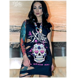 La Xtatic Long Top Sugar Skull Grey