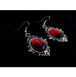 Gothic Victorian Steampunk Red Jewel Drop Silver Metal Filigree Earrings