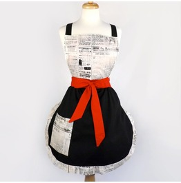Apron Vintage Newspaper Apron / Black White Apron