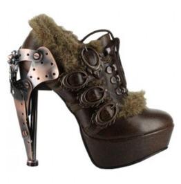 Hades Shoes Brown Morgana Metallic Heels