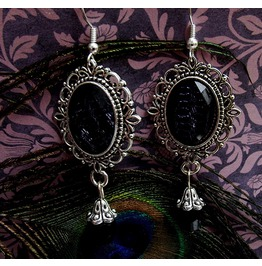Gothic Victorian Silver Filigree Black Drop Bead Earrings
