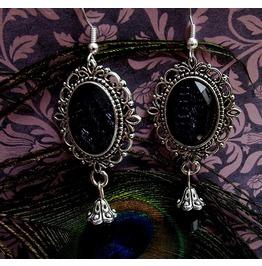 Gothic Victorian Silver Filigree Black Drop Bead Earrings