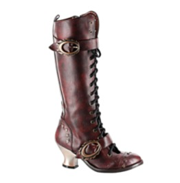 Hades Shoes Burgundy Womens Vintage Knee High Boots