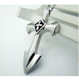 Men's Stainless Steel Gothic Cross Pendant Necklace