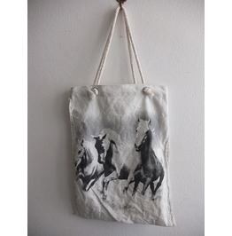 Wild Horses Stallions Beach Canvas Tote Bag Rope Handle
