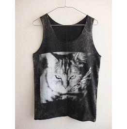Cute House Cat Kitten Animal Stone Wash Vest Tank Top M