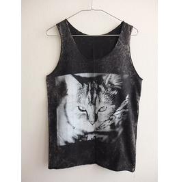 Cute House Cat Kitten Animal Stone Wash Vest Tank Top M
