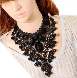 Dramatic Black Lace Beaded Pendant Necklace Large Black Gems