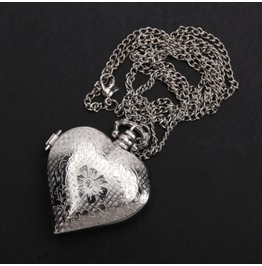 Silver Heart Shaped Quartz Pocket Watch Pendant Necklace Chain