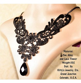 Gothic Lolita Black Steampunk Victorian Cutie Bat Choker Necklace
