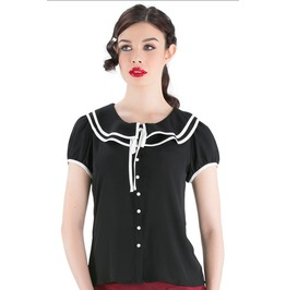 Voodoo Vixen Black Retro Rockabilly Blouse