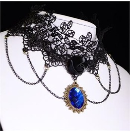 Gothic Lolita Lace Choker W Royal Blue Pendant Ships Hot N' Now
